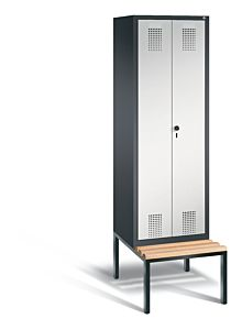Garderobekast met ondergebouwde zitbank en naar elkaar toeslaande deuren 48052-20