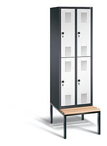 Garderobekast met ondergebouwde zitbank en 2 afdelingen boven elkaar 48350-20