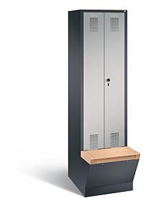 Garderobekast met ondergebouwde zitbank met opbergbox en naar elkaar toeslaande deuren S3500 Evolo