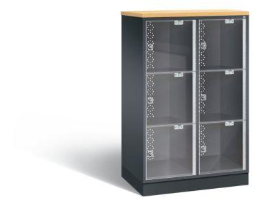 Lage lockerkast met plexiglas deuren en 3 vakken boven elkaar S4000 Intro