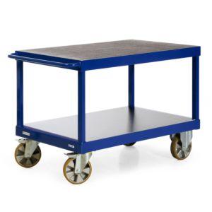 Tafelwagen voor zware lasten met 2 laadvlakken en horizontale duwbeugel
